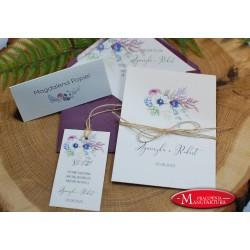 Zaproszenia ślubne anemony w odcieniach fioletu