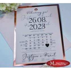 zaproszenia ślubne rose gold kartka z kalendarza
