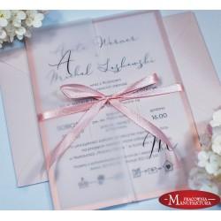 zaproszenia ślubne rose gold z obłożyną
