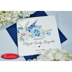 zaproszenia na chrzest niebieskie kwiaty