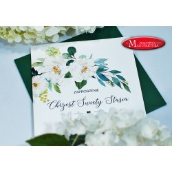 zaproszenia na chrzest zieleń i białe kwiaty