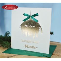 karnet świąteczny dla firmy z logo złocone treści i napisy