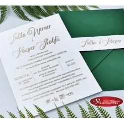 eleganckie zaproszenia ślubne z opaską - złocone