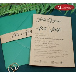 rustykalne zaproszenia ślubne z opaską