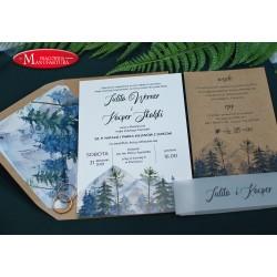rustykalne zaproszenia ślubne górskie