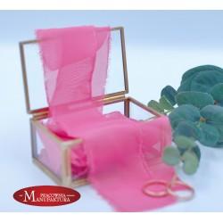 Wstążka szyfonowa ręcznie rwana - różowa