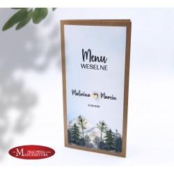 menu z motywem gór