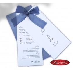 zaproszenia ślubne z ręcznie rwaną szyfonową wstążką