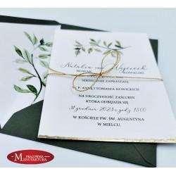 delikatne ręcznie złocone zaproszenia ślubne