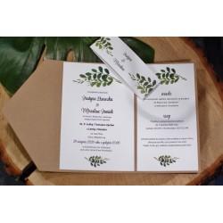 Zaproszenie w folderze z motywem liści