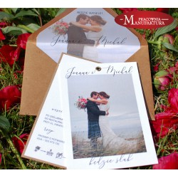 fotozaproszenie rustykalne ślubne ze zdjęciem