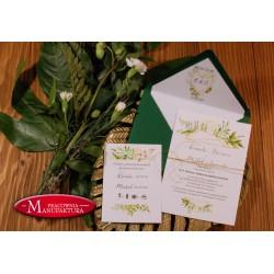 Zaproszenia ślubne otwarte/jednokartkowe z liśćmi