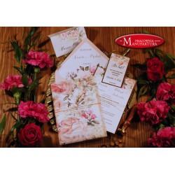 Zaproszenia ślubne otwarte/jednokartkowe z kwiatami