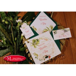 złocone zaproszenia ślubne z pergaminem