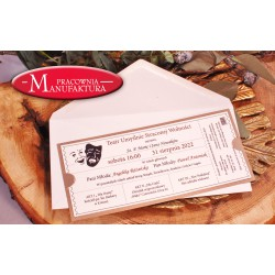 zaproszenia ślubne w formie biletu do teatru